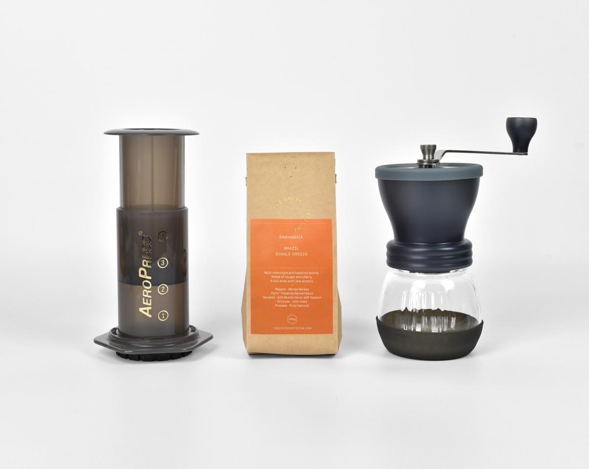 The Coffee Officina Aeropress Samambaia Brazil Hario Skerton Mill hand-grinder gift set