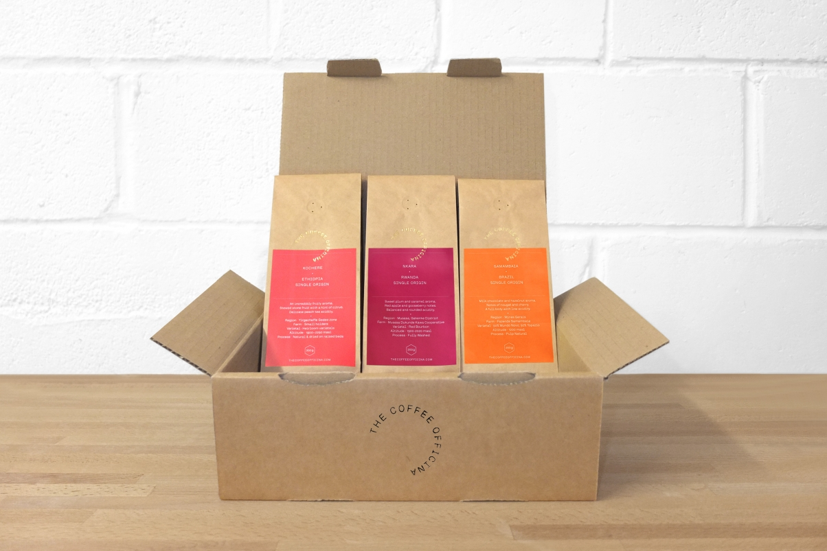boxed opened with coffee flavours