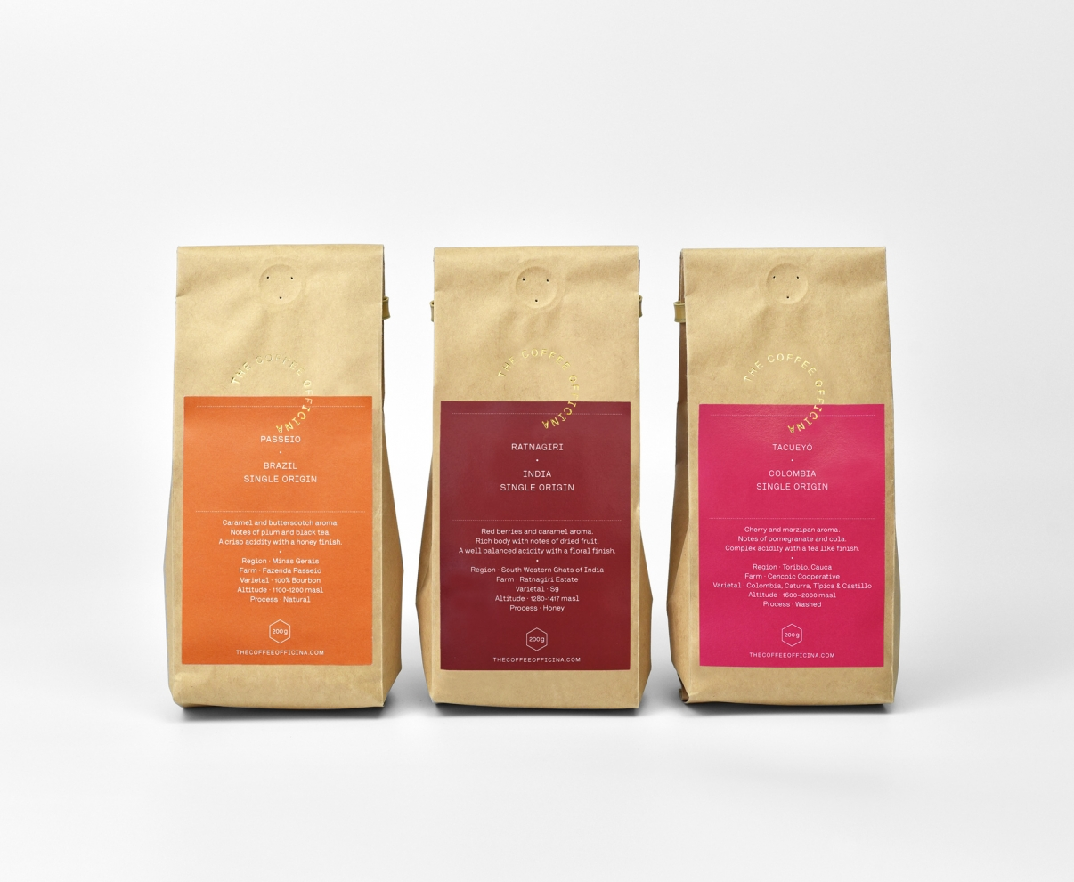 The Coffee Officina Single Origin selection Brazil India Colombia