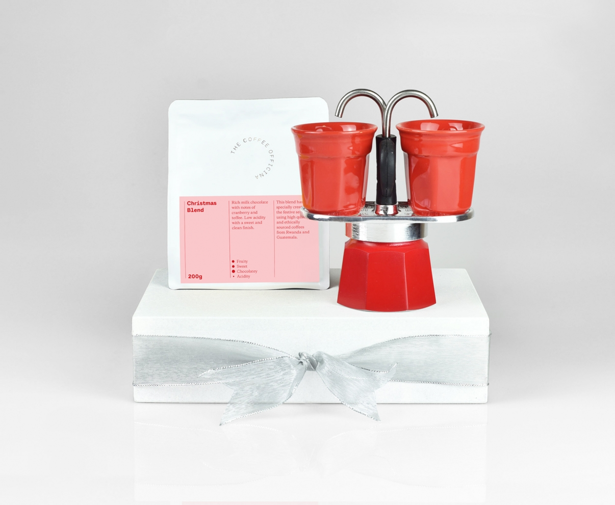 The Coffee Officina Bialetti Mini Express stovetop and Christmas Blend gift set